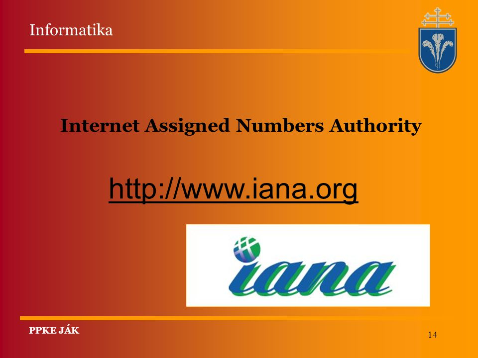 14 Internet Assigned Numbers Authority http://www.iana.org Informatika PPKE JÁK