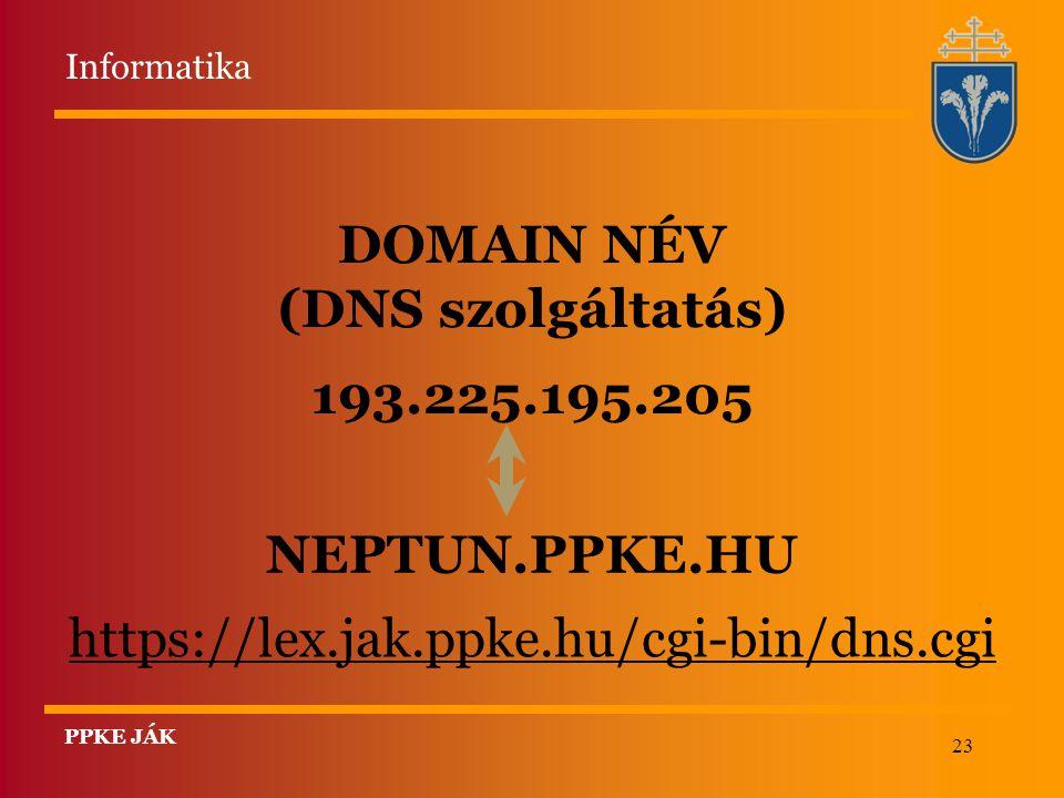 23 DOMAIN NÉV (DNS szolgáltatás) 193.225.195.205 NEPTUN.PPKE.HU https://lex.jak.ppke.hu/cgi-bin/dns.cgi Informatika PPKE JÁK