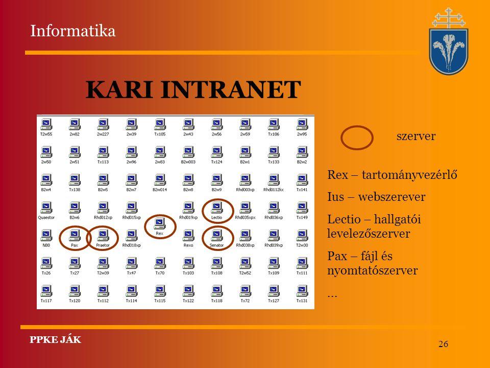 26 KARI INTRANET szerver Rex – tartományvezérlő Ius – webszerever Lectio – hallgatói levelezőszerver Pax – fájl és nyomtatószerver... Informatika PPKE