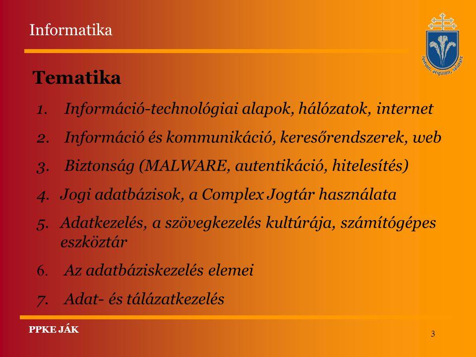 3 Tematika 1. Információ-technológiai alapok, hálózatok, internet 2. Információ és kommunikáció, keresőrendszerek, web 3. Biztonság (MALWARE, autentik