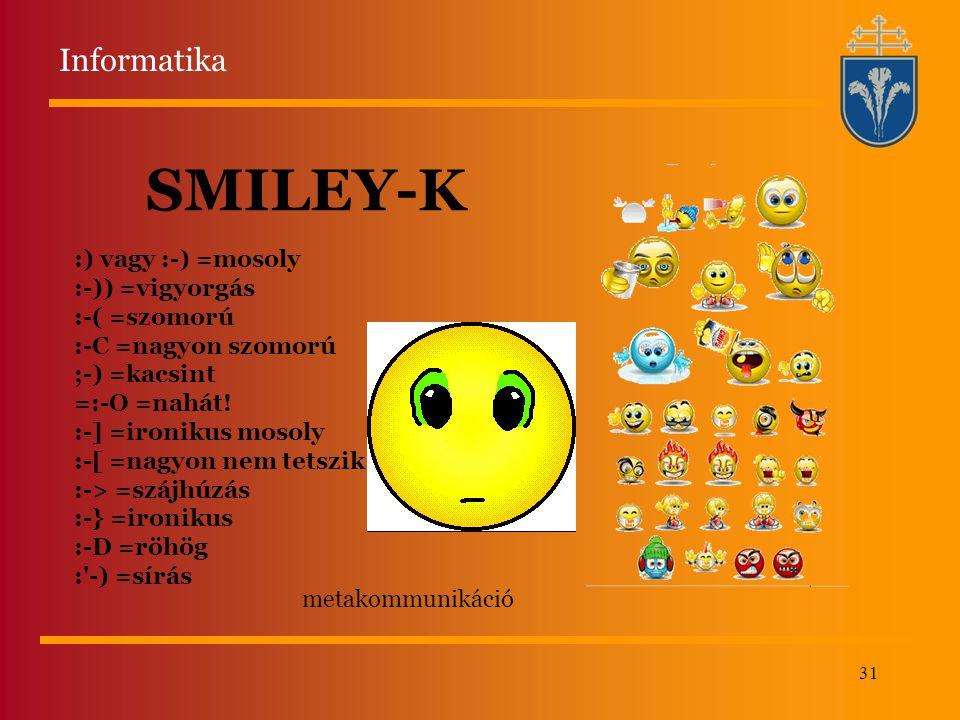 31 SMILEY-K metakommunikáció :) vagy :-) =mosoly :-)) =vigyorgás :-( =szomorú :-C =nagyon szomorú ;-) =kacsint =:-O =nahát! :-] =ironikus mosoly :-[ =