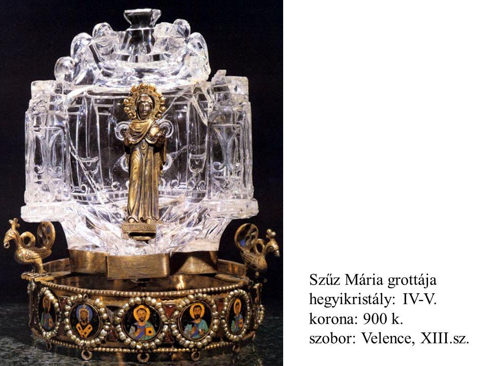 Szűz Mária grottája hegyikristály: IV-V. korona: 900 k. szobor: Velence, XIII.sz.