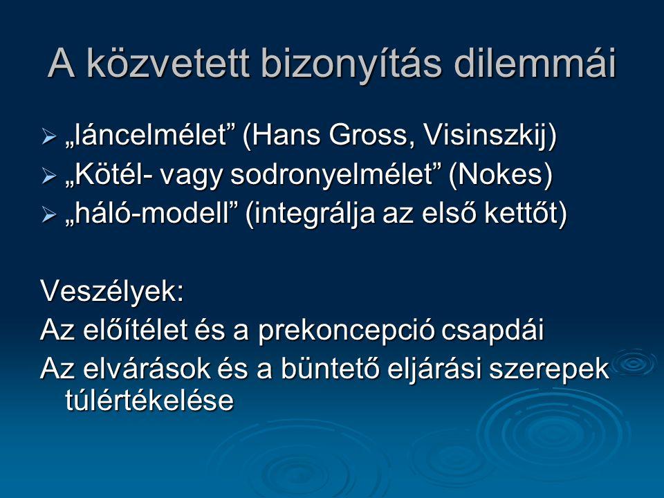 """A közvetett bizonyítás dilemmái  """"láncelmélet"""" (Hans Gross, Visinszkij)  """"Kötél- vagy sodronyelmélet"""" (Nokes)  """"háló-modell"""" (integrálja az első ke"""
