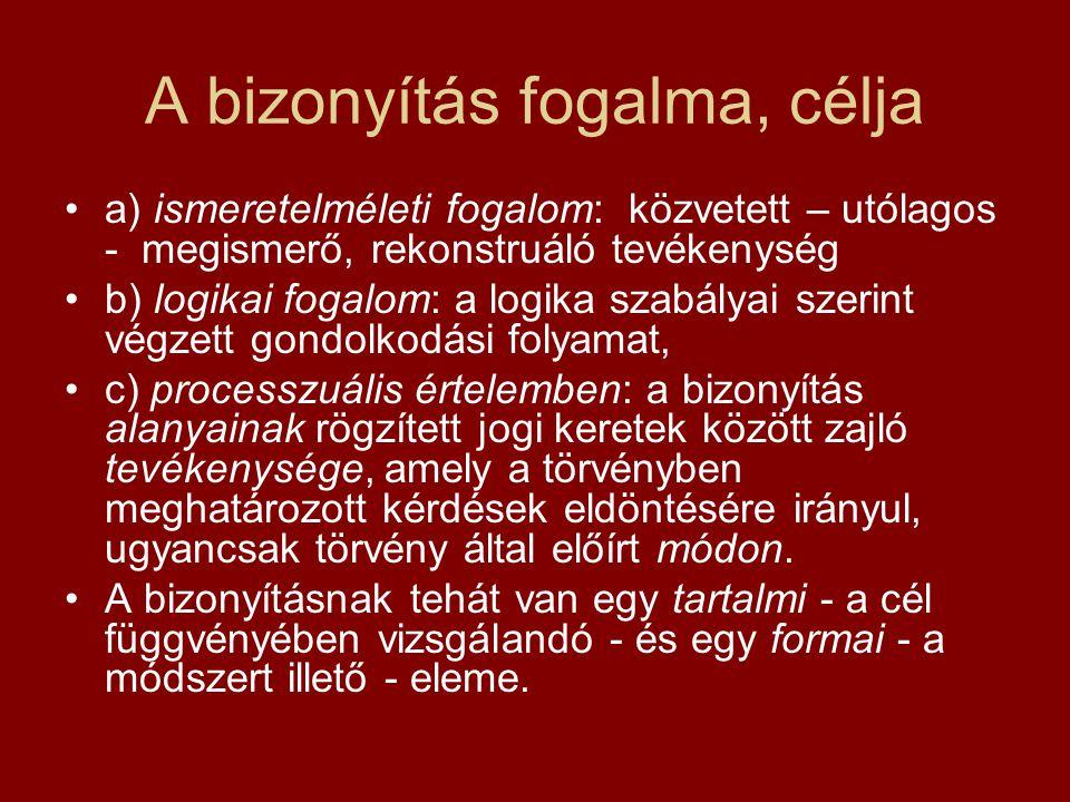 A bizonyítás fogalma, célja a) ismeretelméleti fogalom: közvetett – utólagos - megismerő, rekonstruáló tevékenység b) logikai fogalom: a logika szabál