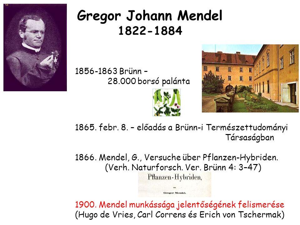 Gregor Johann Mendel 1822-1884 1865.febr. 8.
