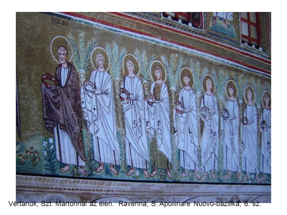 Vértanúk, Szt. Mártonnal az élen. Ravenna, S. Apollinare Nuovo-bazilika, 6. sz.