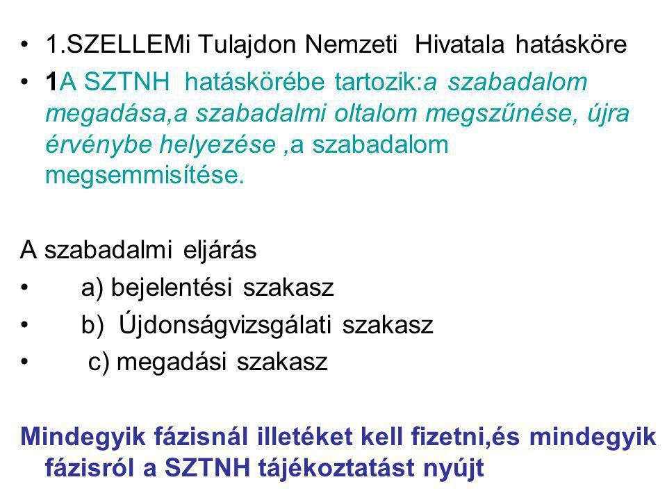 1.SZELLEMi Tulajdon Nemzeti Hivatala hatásköre 1A SZTNH hatáskörébe tartozik:a szabadalom megadása,a szabadalmi oltalom megszűnése, újra érvénybe hely