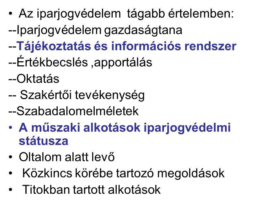 6)A FELTALÁLÓ VAGYONI JOGAI 1)Szabadalmi igény 2)Átruházás 3) Hasznosítás 4)A hasznosítás engedélyezése 5)Bitorlás elleni fellépés A TERMÉKSZABADALOM HASZNOSÍTÁSA a) előállítás b) használat c) forgalomba hozatal d) forgalomba hozatal céljából való felkínálás e) forgalomba hozatal céljából behozatal