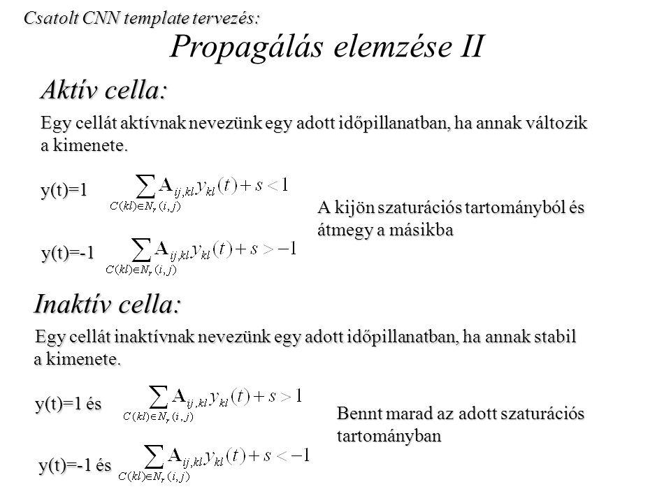 Propagálás elemzése II Aktív cella: Egy cellát aktívnak nevezünk egy adott időpillanatban, ha annak változik a kimenete. y(t)=1 Csatolt CNN template t