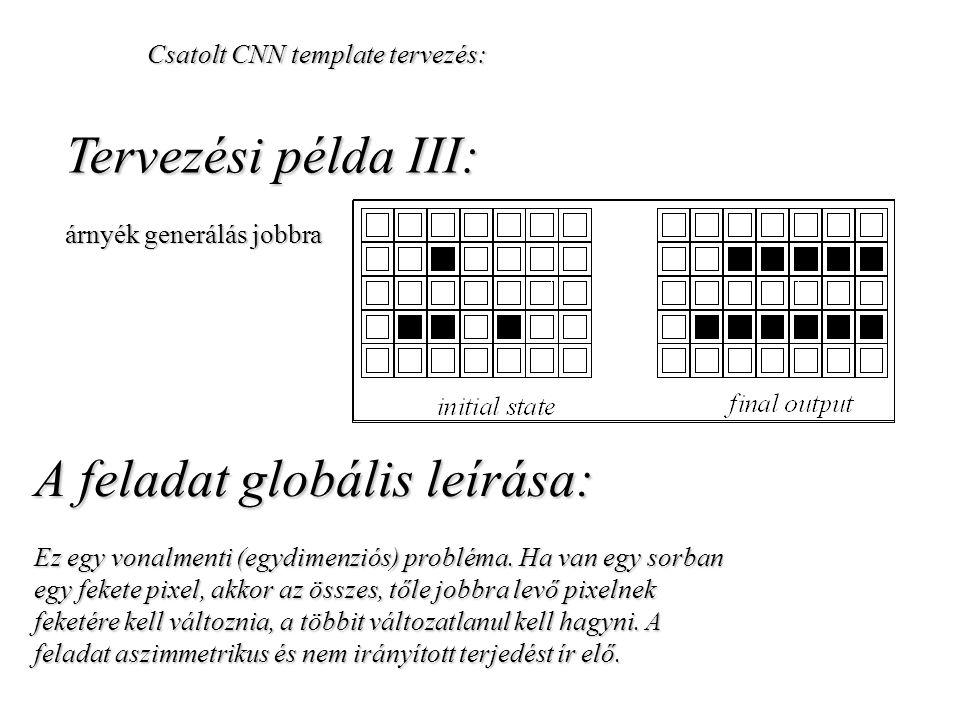 Csatolt CNN template tervezés: Tervezési példa III: árnyék generálás jobbra A feladat globális leírása: Ez egy vonalmenti (egydimenziós) probléma. Ha