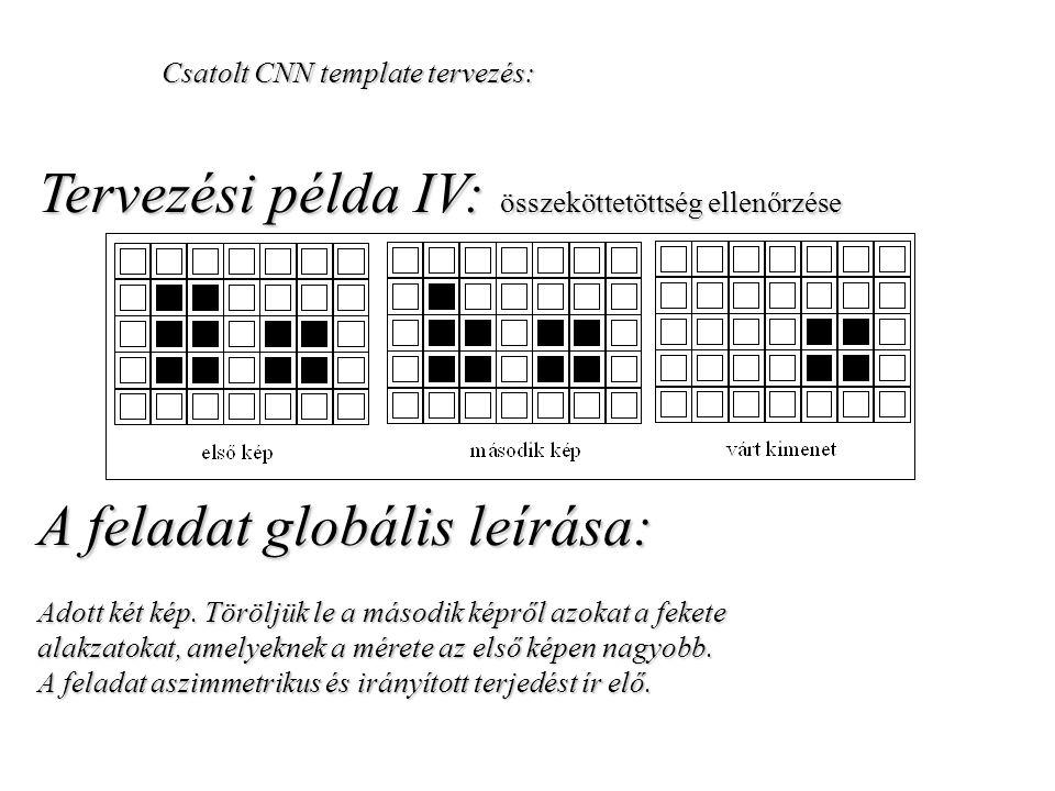 Csatolt CNN template tervezés: Tervezési példa IV: összeköttetöttség ellenőrzése A feladat globális leírása: Adott két kép. Töröljük le a második képr