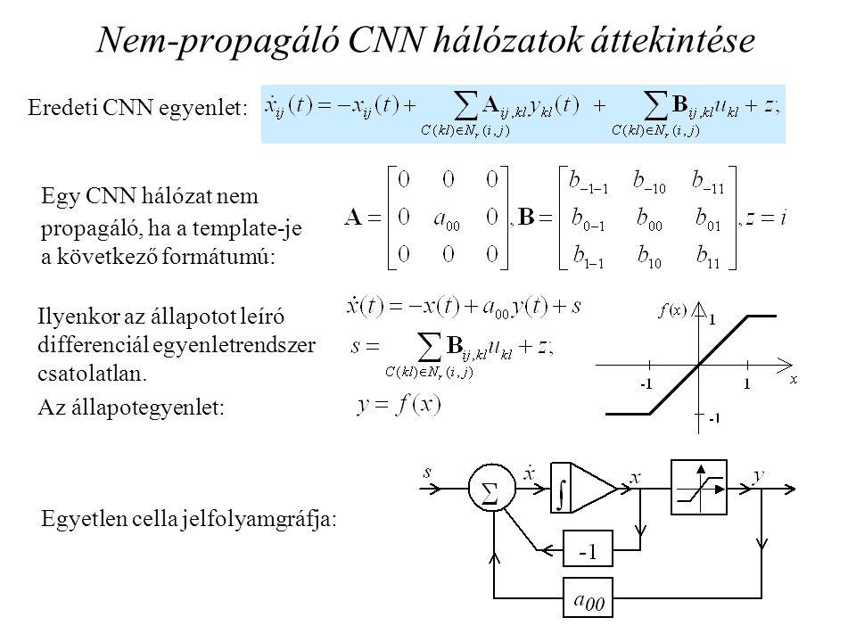 Nem-propagáló CNN hálózatok áttekintése Egy CNN hálózat nem propagáló, ha a template-je a következő formátumú: Ilyenkor az állapotot leíró differenciá