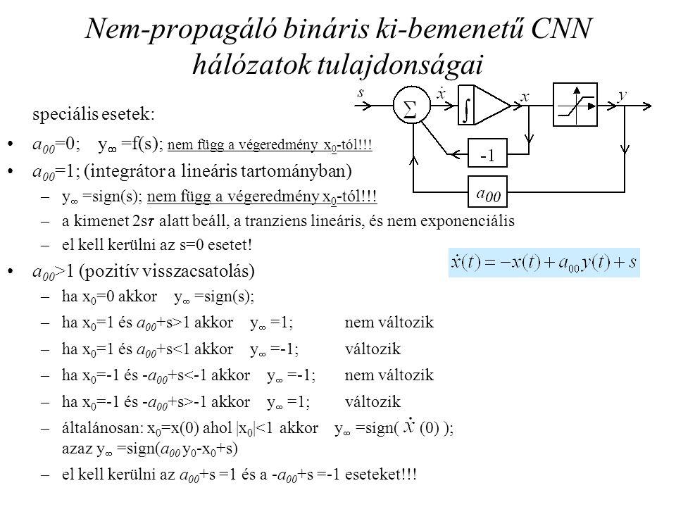 Nem-propagáló bináris ki-bemenetű CNN hálózatok tulajdonságai speciális esetek: a 00 =0; y  =f(s); nem függ a végeredmény x 0 -tól!!! a 00 =1; (integ