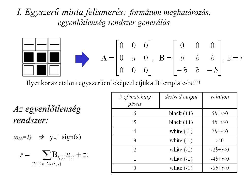 I. Egyszerű minta felismerés: formátum meghatározás, egyenlőtlenség rendszer generálás Ilyenkor az etalont egyszerűen leképezhetjük a B template-be!!!