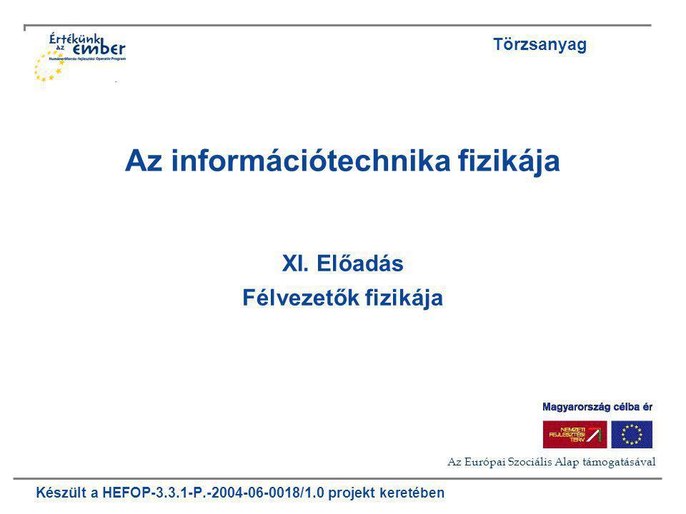 Készült a HEFOP-3.3.1-P.-2004-06-0018/1.0 projekt keretében Az információtechnika fizikája XI. Előadás Félvezetők fizikája Törzsanyag Az Európai Szoci