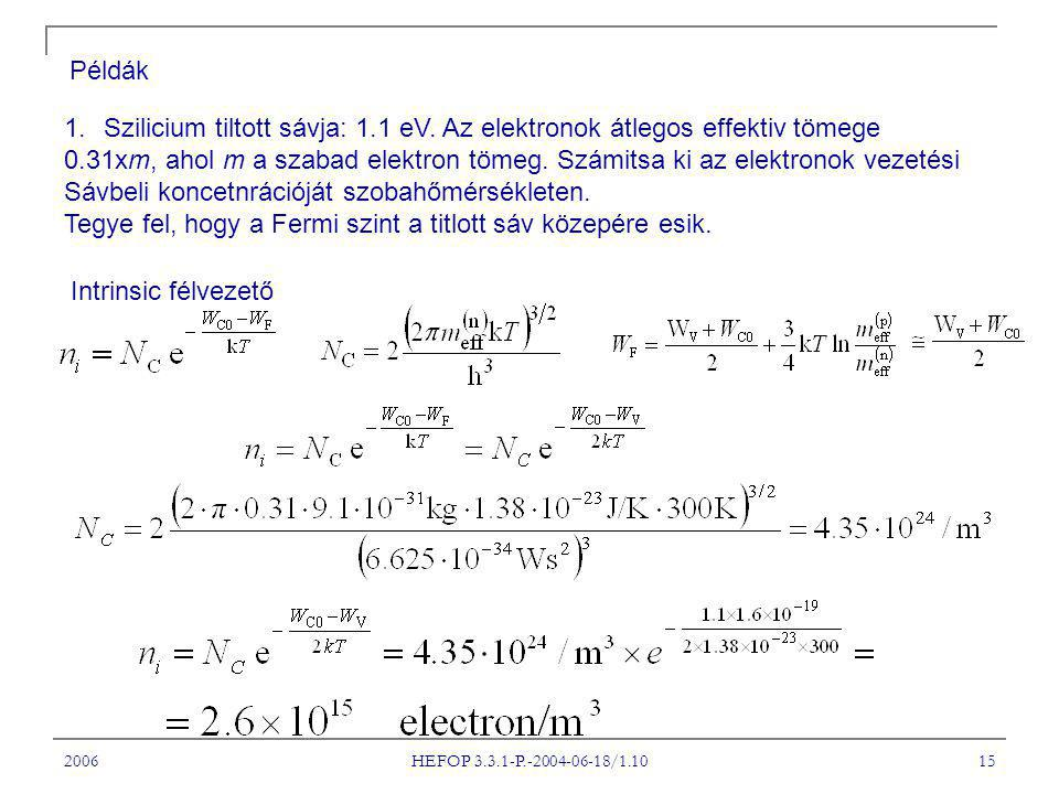 2006 HEFOP 3.3.1-P.-2004-06-18/1.10 15 Példák 1.Szilicium tiltott sávja: 1.1 eV. Az elektronok átlegos effektiv tömege 0.31xm, ahol m a szabad elektro