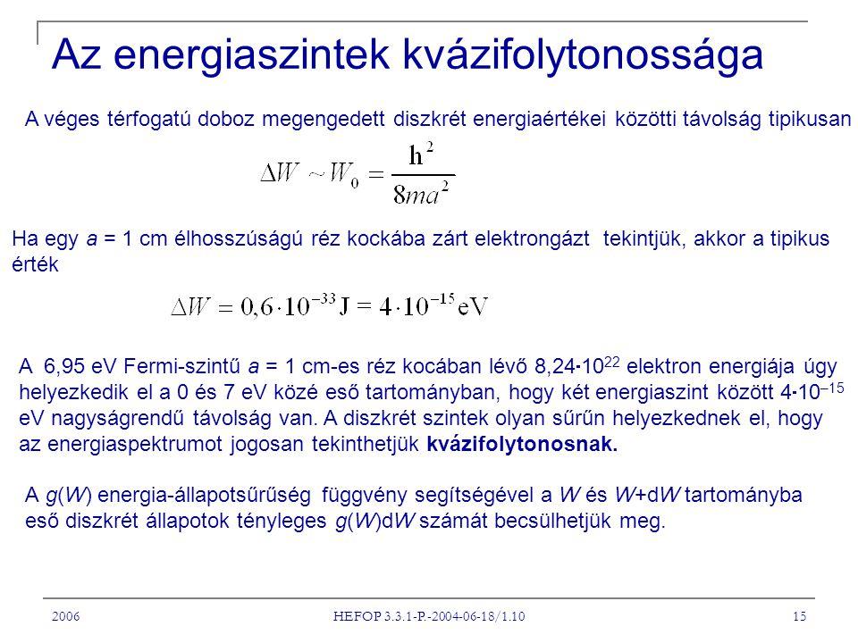 2006 HEFOP 3.3.1-P.-2004-06-18/1.10 15 A véges térfogatú doboz megengedett diszkrét energiaértékei közötti távolság tipikusan Ha egy a = 1 cm élhosszúságú réz kockába zárt elektrongázt tekintjük, akkor a tipikus érték A 6,95 eV Fermi-szintű a = 1 cm-es réz kocában lévő 8,24  10 22 elektron energiája úgy helyezkedik el a 0 és 7 eV közé eső tartományban, hogy két energiaszint között 4  10 –15 eV nagyságrendű távolság van.