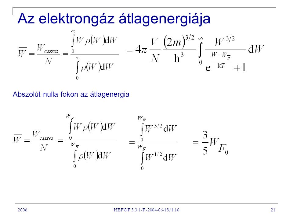 2006 HEFOP 3.3.1-P.-2004-06-18/1.10 21 Abszolút nulla fokon az átlagenergia Az elektrongáz átlagenergiája