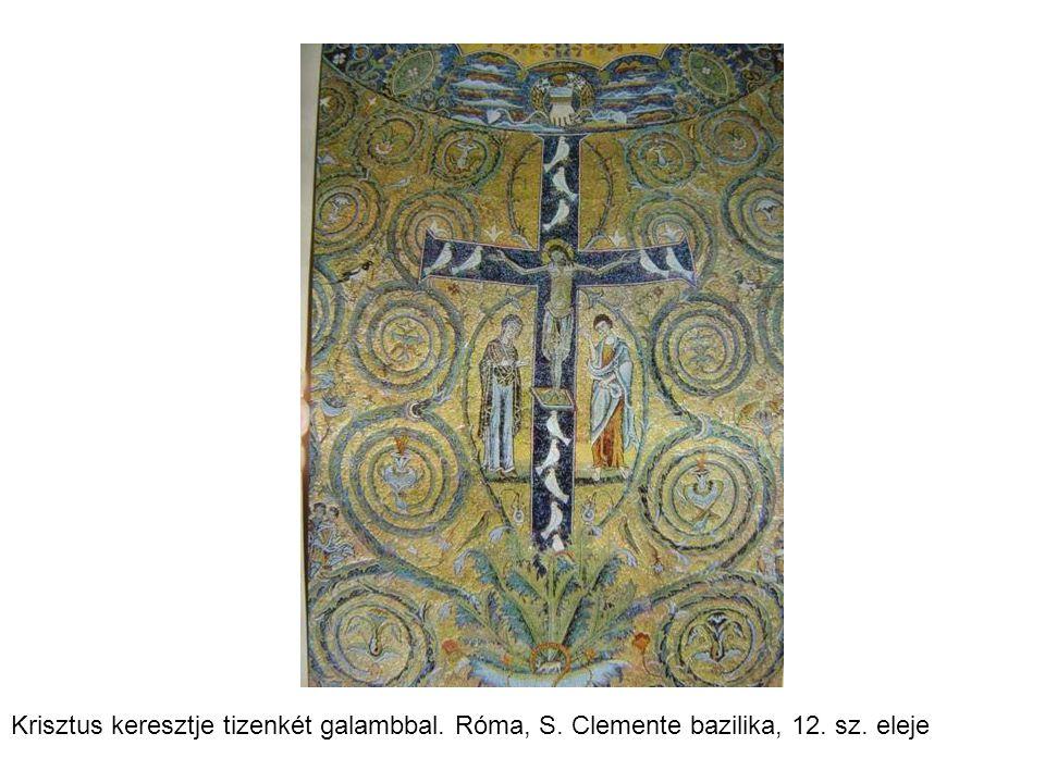 Krisztus keresztje tizenkét galambbal. Róma, S. Clemente bazilika, 12. sz. eleje