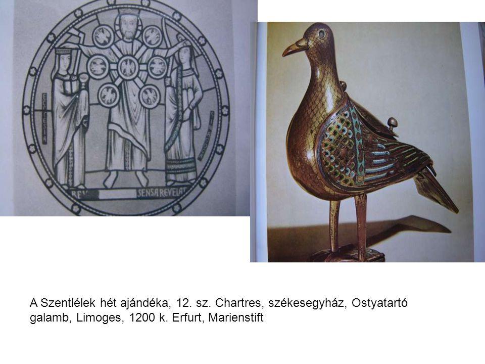 A Szentlélek hét ajándéka, 12. sz. Chartres, székesegyház, Ostyatartó galamb, Limoges, 1200 k. Erfurt, Marienstift
