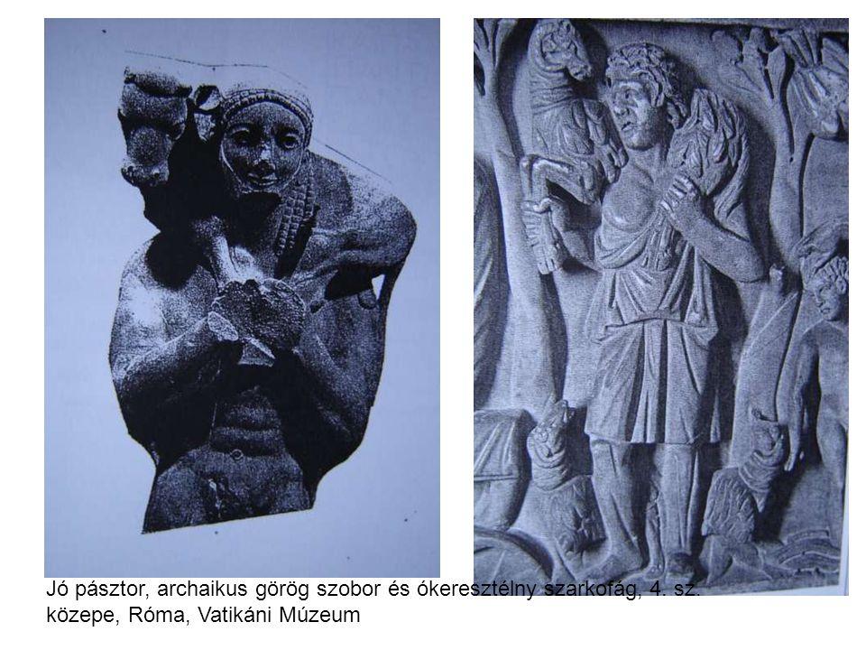 Jó pásztor, archaikus görög szobor és ókeresztélny szarkofág, 4. sz. közepe, Róma, Vatikáni Múzeum