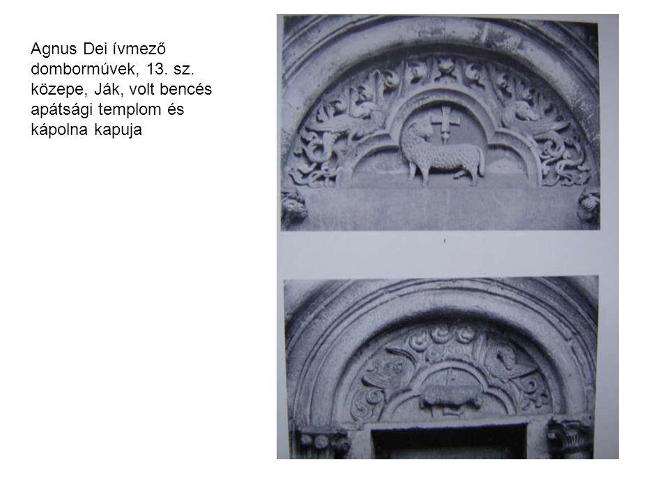 Agnus Dei ívmező dombormúvek, 13. sz. közepe, Ják, volt bencés apátsági templom és kápolna kapuja