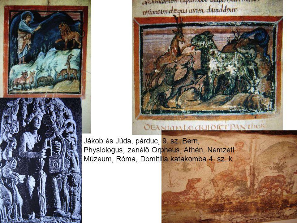 Jákob és Júda, párduc, 9. sz. Bern, Physiologus, zenélő Orpheus, Athén, Nemzeti Múzeum, Róma, Domitilla katakomba 4. sz. k.