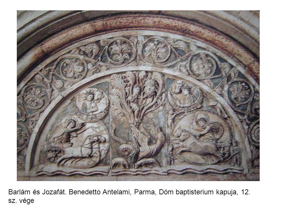 Barlám és Jozafát. Benedetto Antelami, Parma, Dóm baptisterium kapuja, 12. sz. vége