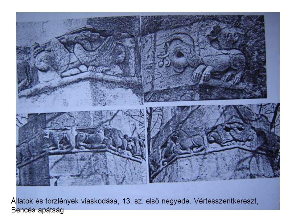 Állatok és torzlények viaskodása, 13. sz. első negyede. Vértesszentkereszt, Bencés apátság