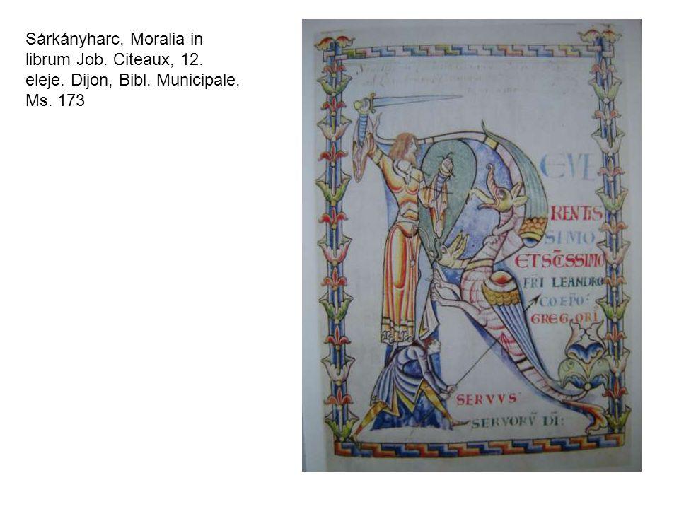 Sárkányharc, Moralia in librum Job. Citeaux, 12. eleje. Dijon, Bibl. Municipale, Ms. 173
