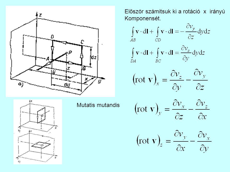 Először számitsuk ki a rotáció x irányú Komponensét. Mutatis mutandis