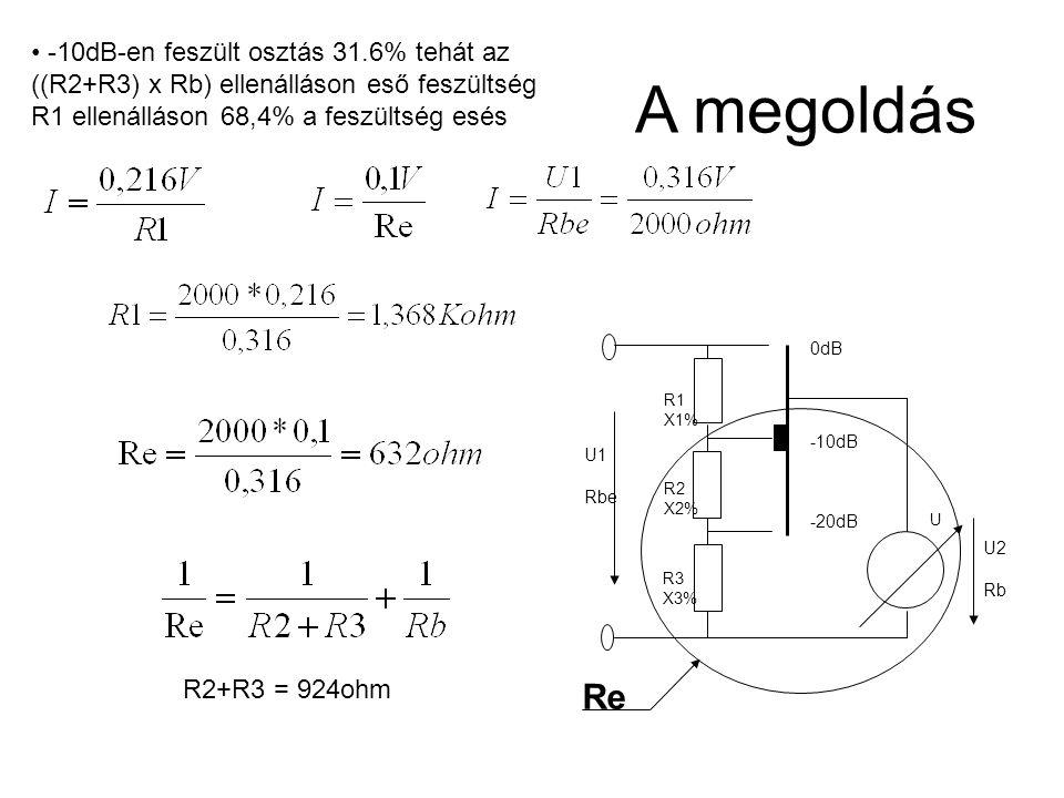 R1 X1% R2 X2% R3 X3% U 0dB -10dB -20dB U1 Rbe U2 Rb -10dB-en feszült osztás 31.6% tehát az ((R2+R3) x Rb) ellenálláson eső feszültség R1 ellenálláson