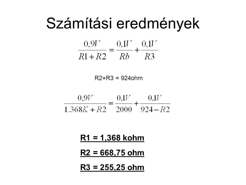 Számítási eredmények R1 = 1,368 kohm R2 = 668,75 ohm R3 = 255,25 ohm R2+R3 = 924ohm