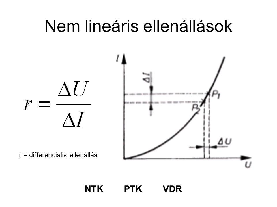 Nem lineáris ellenállások r = differenciális ellenállás NTK PTK VDR