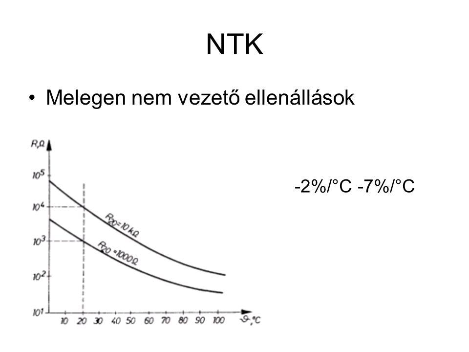 NTK Melegen nem vezető ellenállások -2%/°C -7%/°C