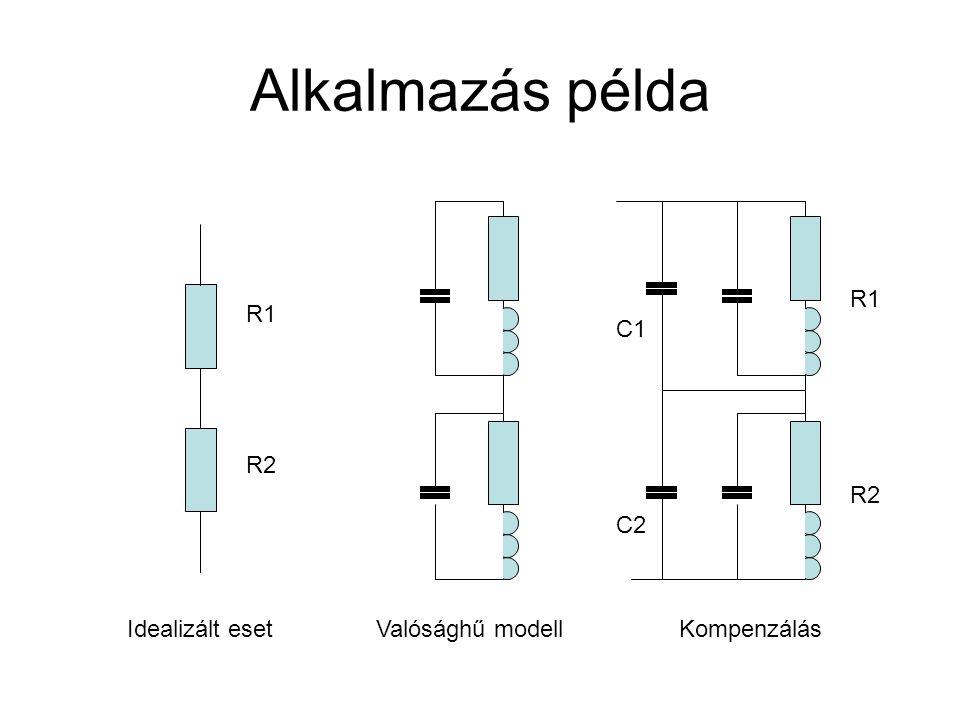 Alkalmazás példa Idealizált esetValósághű modellKompenzálás R1 R2 R1 R2 C1 C2