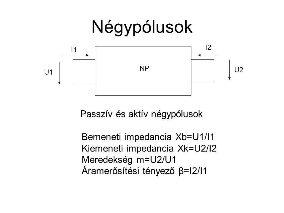 Négypólusok NP U1 U2 I1 I2 Passzív és aktív négypólusok Bemeneti impedancia Xb=U1/I1 Kiemeneti impedancia Xk=U2/I2 Meredekség m=U2/U1 Áramerősítési té