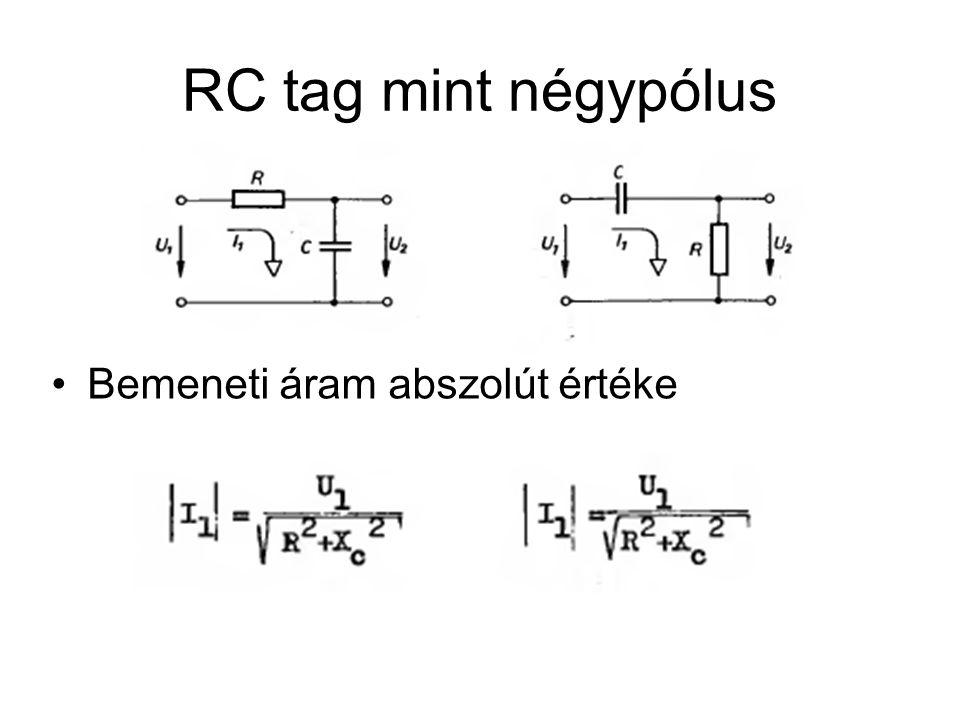 RC tag mint négypólus Bemeneti áram abszolút értéke