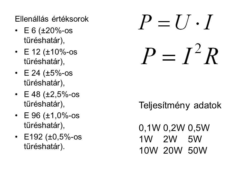 Ellenállás értéksorok E 6 (±20%-os tűréshatár), E 12 (±10%-os tűréshatár), E 24 (±5%-os tűréshatár), E 48 (±2,5%-os tűréshatár), E 96 (±1,0%-os tűrésh