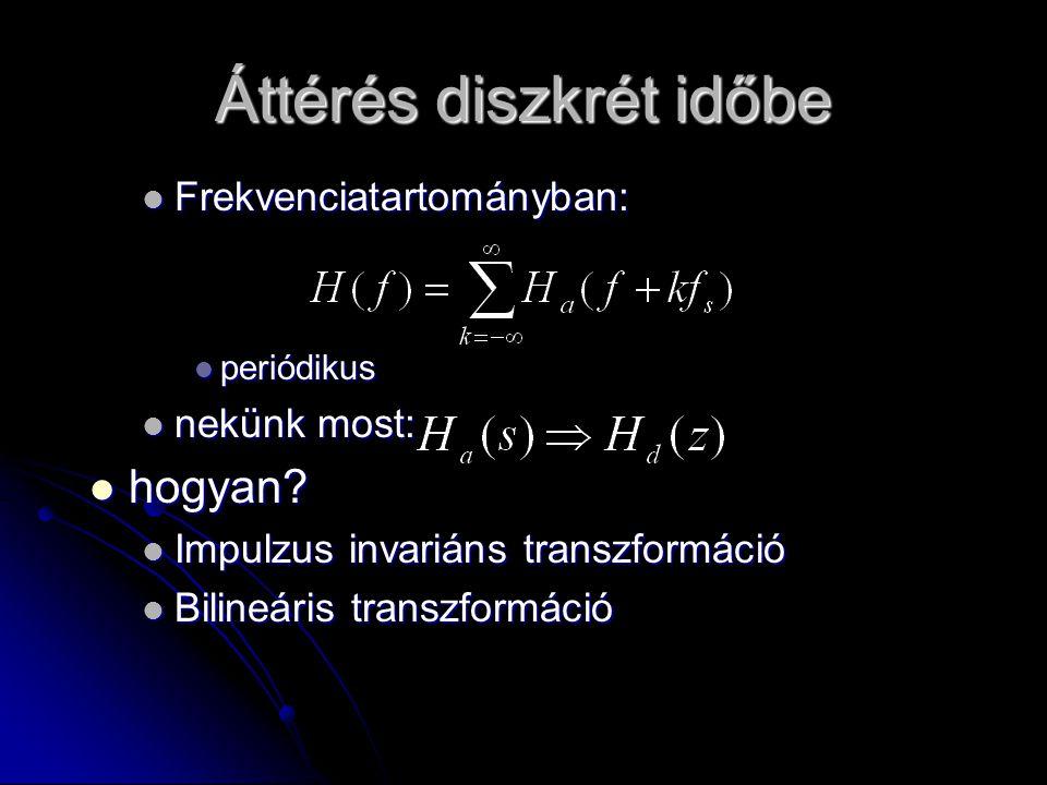 Áttérés diszkrét időbe Frekvenciatartományban: Frekvenciatartományban: periódikus periódikus nekünk most: nekünk most: hogyan? hogyan? Impulzus invari