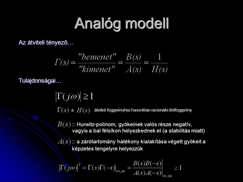 Analóg modell Az átviteli tényező… Tulajdonságai… a átviteli függvényhez hasonlóan racionális törtfüggvény :: Hurwitz-polinom, gyökeinek valós része n