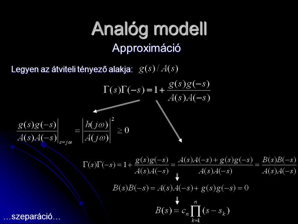 Analóg modell Approximáció Legyen az átviteli tényező alakja: …szeparáció…