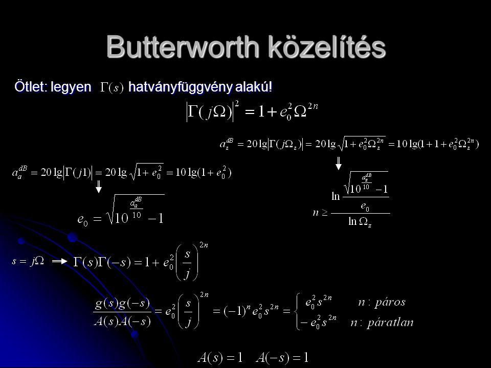 Butterworth közelítés Ötlet: legyen hatványfüggvény alakú!
