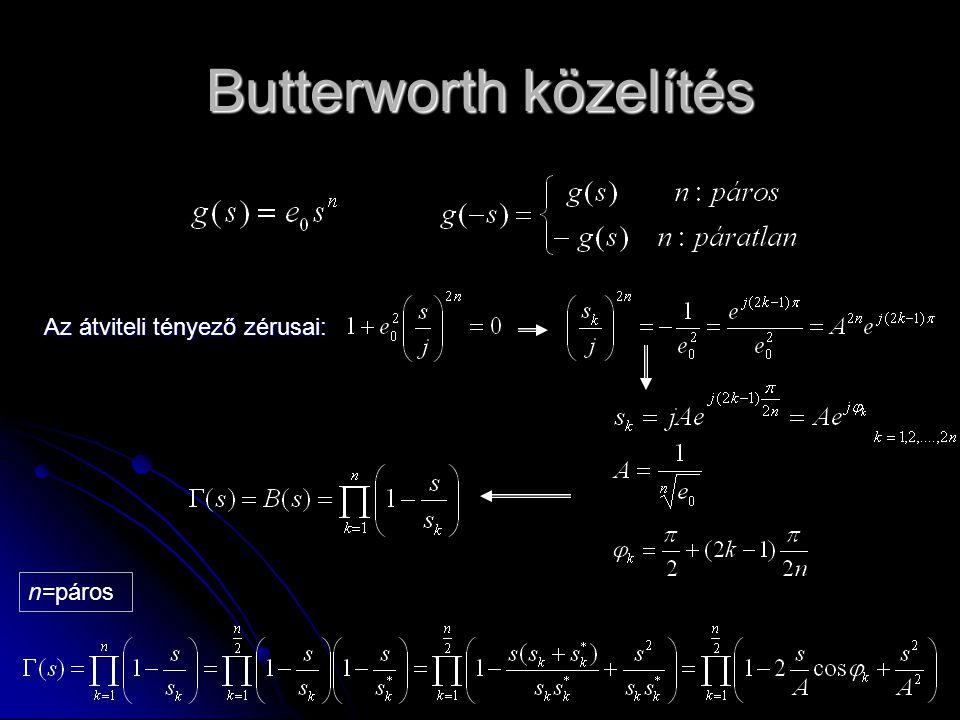 Butterworth közelítés Az átviteli tényező zérusai: n=páros
