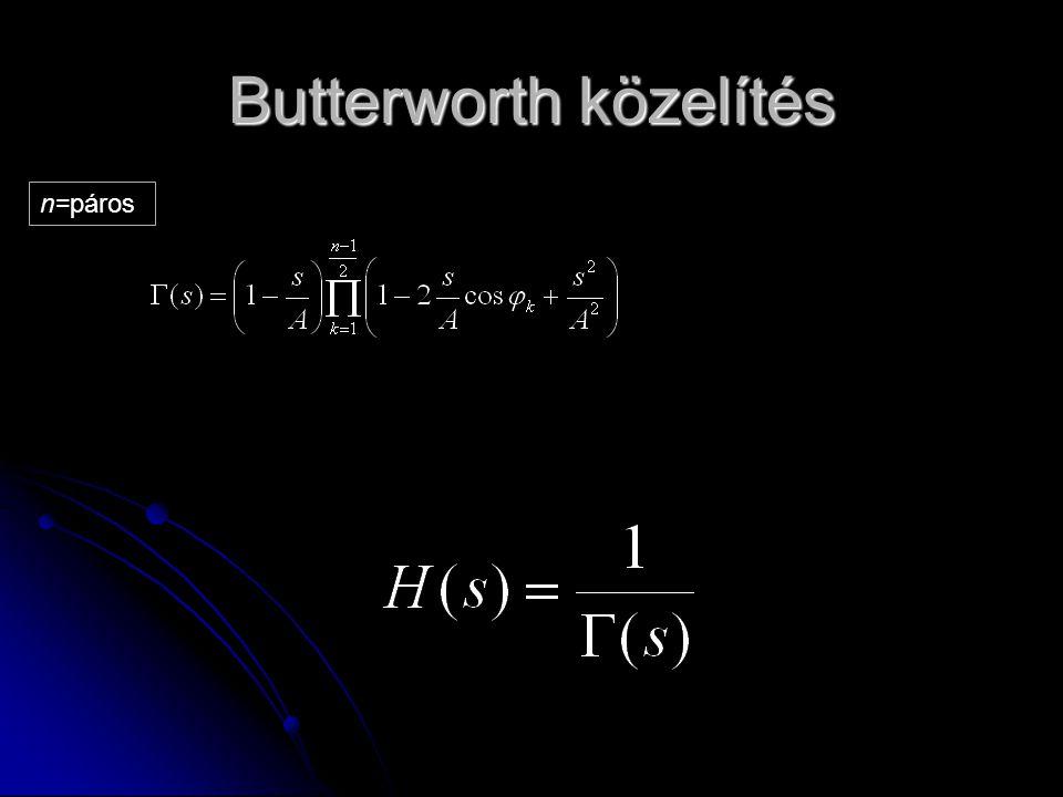 Butterworth közelítés n=páros