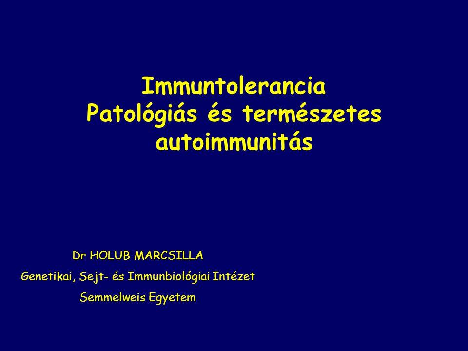 Immuntolerancia Patológiás és természetes autoimmunitás Dr HOLUB MARCSILLA Genetikai, Sejt- és Immunbiológiai Intézet Semmelweis Egyetem
