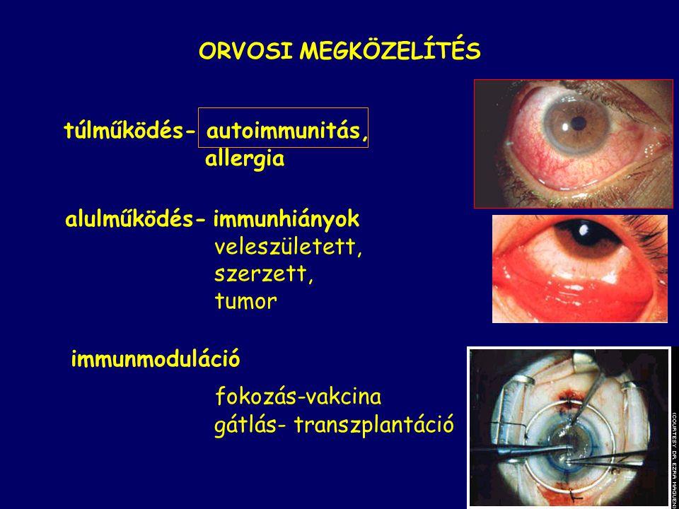 ORVOSI MEGKÖZELÍTÉS túlműködés- autoimmunitás, allergia alulműködés- immunhiányok veleszületett, szerzett, tumor immunmoduláció fokozás-vakcina gátlás- transzplantáció