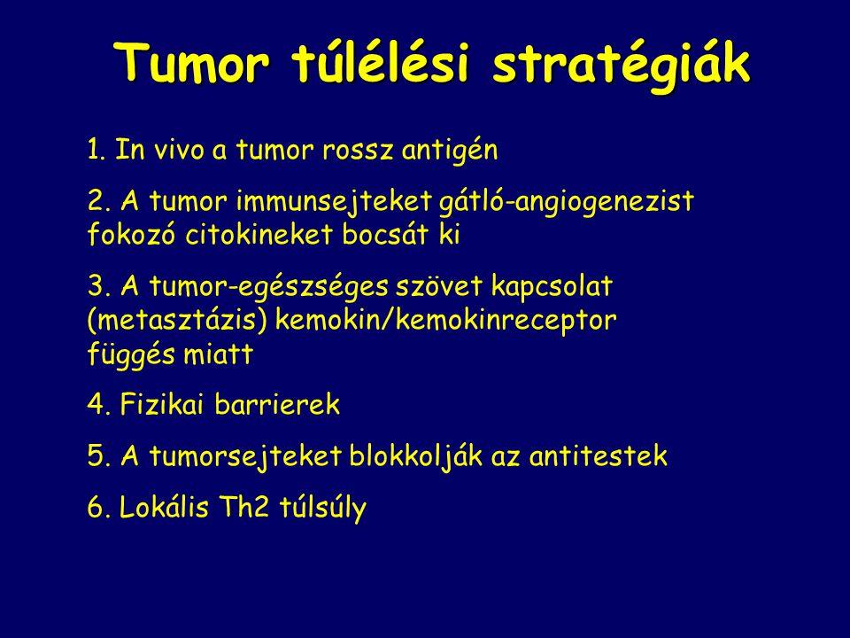 Tumor túlélési stratégiák 1.In vivo a tumor rossz antigén 2.