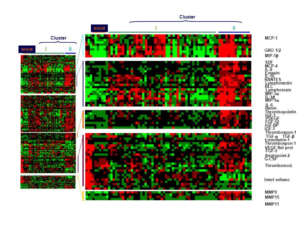 MMP MMP9 MMP15 MMP11 CK IFN GF III E K F NHEM Cluster III E K F NHEM Cluster TGF-  Thrombospon-1 Thrombomod.