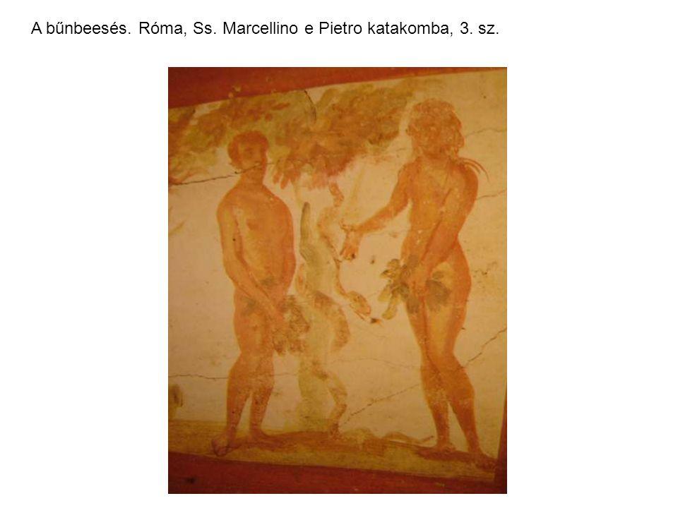 Bánkódó ősszülők, Káin és Ábel áldozatot hoznak. Róma, Via Latina katakomba, 3. sz.